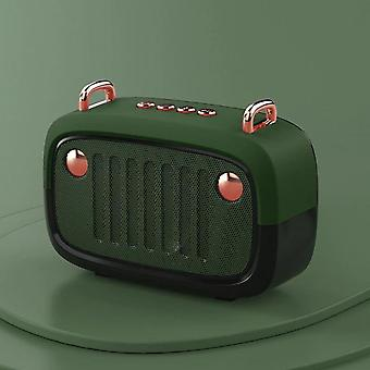 Green portable bluetooth speaker, long time outdoor speaker supports TF card/U disk/FM subwoofer