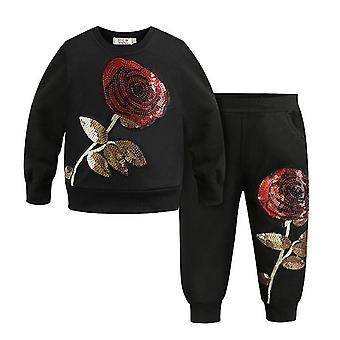 Black 7t big rose pattern kids clothing sets autumn winter toddler tracksuit cai960