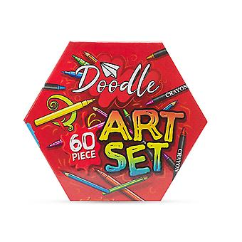 Doodle 60 Piece Hexagon Fold Out Box Washable Arts and Crafts Set, Red