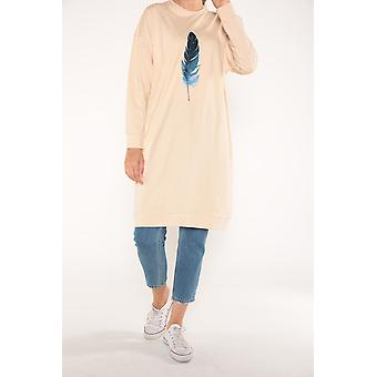 Feather Printed Combed Cotton Sweatshirt Tunic