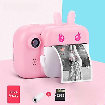 كاميرا الأطفال واي فاي الفورية طباعة الكاميرا الحرارية طابعة لاسلكية واي فاي طابعة الهاتف 32gb بطاقة 1080p HD الأطفال لعبة الكاميرا الرقمية