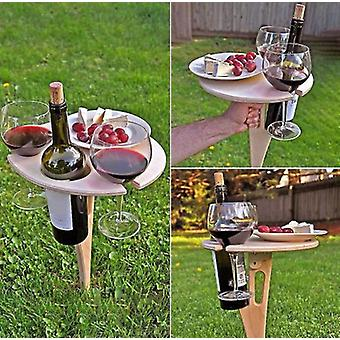 Outdoor Portable Wine Table With Foldable Round Desktop