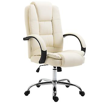 Vinsetto High Back Executive Office Chair Swivel PU Leather Ergonomic Chair, with Padded Arm, Adjustable Height, Beige