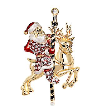 Lovely Brooch Pin Santa Claus Corsage Colorful Alloy Ladies Brooch