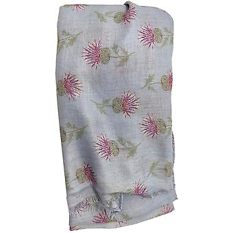 Blue Thistle Cashmere Blend Scarf by Butterfly Fashion London