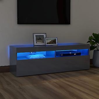 """vidaXL ארון טלוויזיה עם נורות LED גבוה מבריק אפור 120x35x40 ס""""מ"""