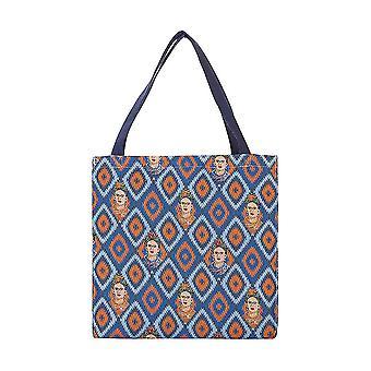 فريدا كاهلو رمز gusset حقيبة | | حقيبة زرقاء قابلة للطي غوس-فكيبون