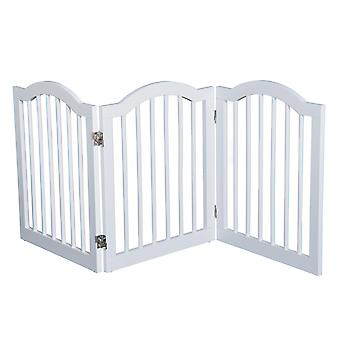 PawHut Wooden Foldable Dog Gate Stepover Panel Pet Fence Freestanding Safety Barrier for the House, Doorway, Stairs(White)
