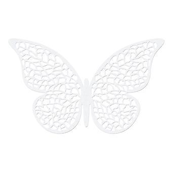 10 Pearl White 8cm Kortblad detaljerad fjäril