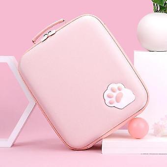 لطيف لفتاة القط مخلب حقيبة التخزين لنينتندو التبديل حقيبة Nintend التبديل (الوردي)