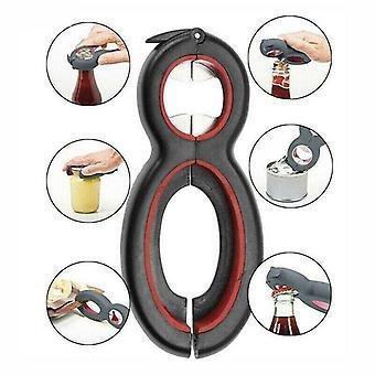 Multi-Tool 6 in 1 Bottle Can Jar Opener Grip Lid Twist Open Manual Gadget