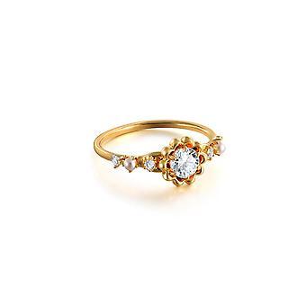 (7) נשים פרחוני חמניות עגול טבעת יהלום תכשיטים זהב 9