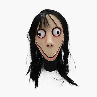 Funny Scary Momo Hacking Game Cosplay Mask Adult Full Head Halloween Ghost Momo Latex Mask With Wigs