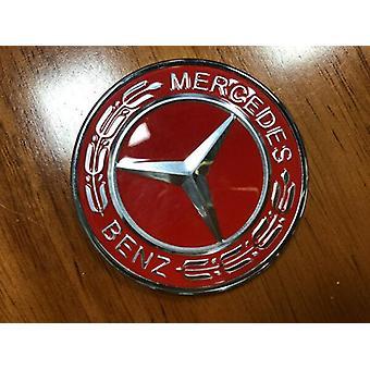 Bonnet Badge Emblem 57mm Red/Silver Mercedes Bonnet Benz Laurel