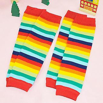 Baby Leg Warmers Cotton Socks- Rainbow Striped Crawling Knee Pads Knitted