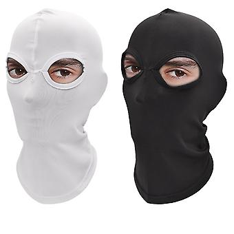 2 Holes Face Cover Balaclava Beanie Hat Quick-dry Tactical Neck Hood Sports Cap