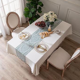 مفارش المائدة مستطيل قابل للغسل طاولة القماش الثقيلة الغبار واقية من غطاء الجدول لطاولة الطعام المطبخ الطرف مع خياطة شرابة