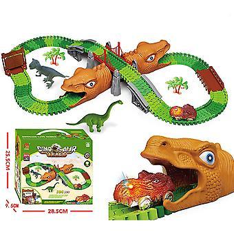 Dinosaurus Race Car Track Lelut, Joustavat raidat Playset (184 Kpl)