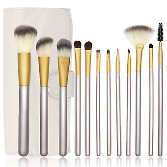 12pcs Silver Makeup Brush Set Eyeshadow Brush Loose Powder Brush Beauty Tool