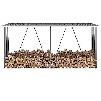 Chunhelife Garden Log Storage Shed Acier galvanisé 330x84x152 Cm Gris