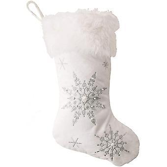 Bas de Noël en peluche Chaussettes de Noël avec motif de flocon de neige Bas blancs