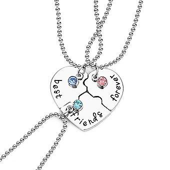 3pcs Women Necklace Set Best Friend Love Heart Alloy Pendant For Daily Use