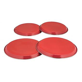 COLOURS 4pc Electric Gas Cooker Hob Cover Set Stainless Steel - Red