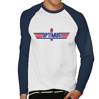 Top Gun Logo Optimus Prime Transformers Herren Baseball T-Shirt Langarm