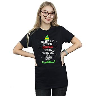 Elf Women's Christmas Cheer Text Boyfriend Fit T-Shirt