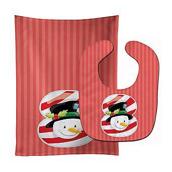 Carolines trésors BB8694STBU Noël bonhomme de neige de mois 8 Baby Bib & tissu