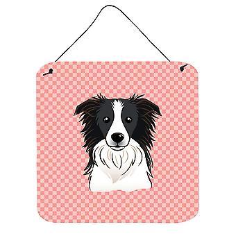 Tabuleiro de damas-de-rosa Border Collie parede ou porta pendurada imprime