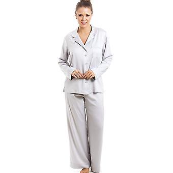 Satynowa Piżama Camille luksusowy srebrny pełnej długości