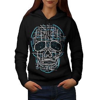 Head Face Panel Skull Women BlackHoodie | Wellcoda