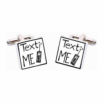 Text Me Cufflinks by Sonia Spencer, in Presentation Gift Box. Hand painted