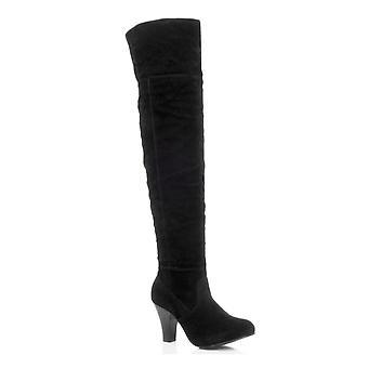 Ajvani womens metà blocco alto tacco sopra la piega del ginocchio sopra polsino pirata stivali da equitazione