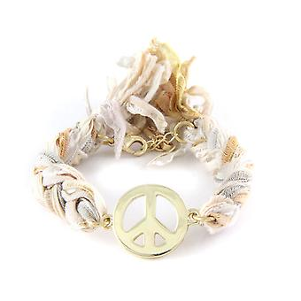 Ettika - Peace and Love Bracelet in Yellow Gold and Cotton Ribbons Multicolor 3111