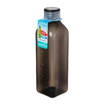 Sistema-Hydrat 1L quadratische Trinkflasche, schwarz