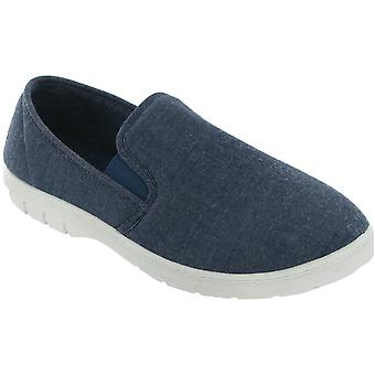 Mirak Mens Tommy Slip On Lightweight Canvas Summer Casual Loafer Navy