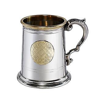 Keltische Brass Badge Pewter Tankard - pint
