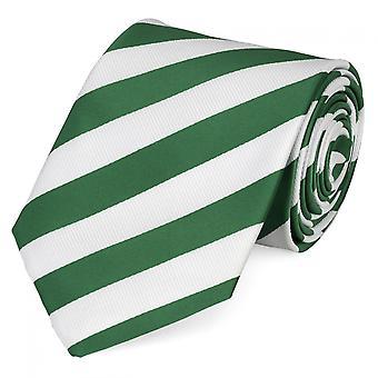 Knyta slips tie slips 8cm grön Fabio Farini vit randig