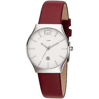 JOBO ladies wrist watch quartz analog stainless steel leather strap red date ladies watch