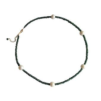 Emerald Necklace gold plated necklace with beads Emerald and Pearl 9 mm