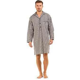 Haigman Mens Printed 100% Cotton Nightshirt Sleepwear - Grey Stripe - Medium