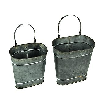 Hanging Distressed Tin Oval Wall Baskets Set of 2