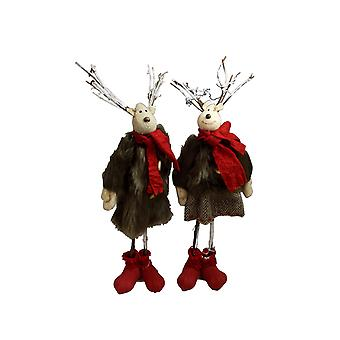 Pair Of Cute Reindeer Decorations With Fur Clothing