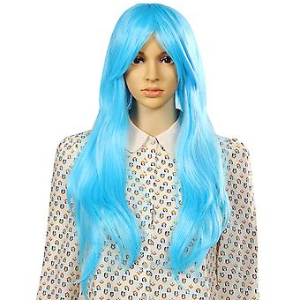 TRIXES Long Blue Wig Soft Waves  Natural Looking Wavy Layered Synthetic Hair