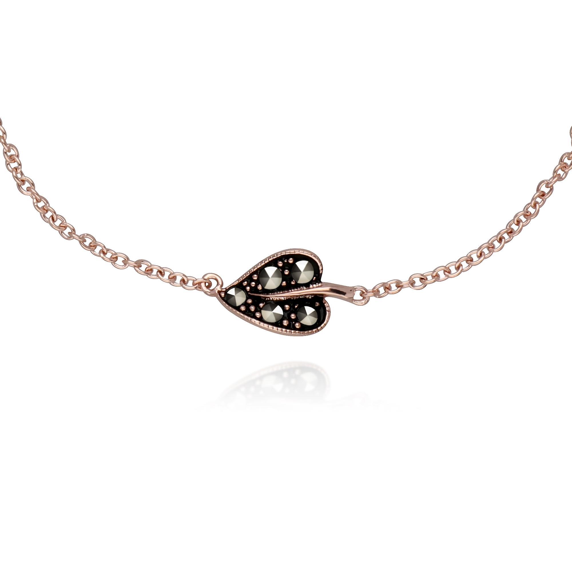 Gemondo Rose Gold Plated Sterling Silver Leaf Marcasite 19cm Bracelet