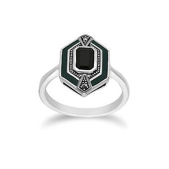 Gemondo esterlina de plata ónix negro, marcasita y anillo hexagonal de esmalte verde
