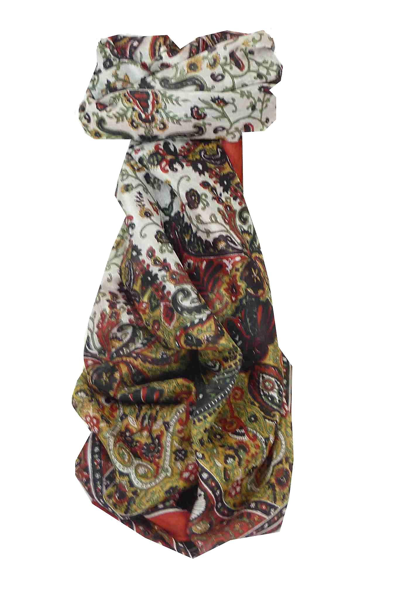 Mulberry Silk Traditional Long Scarf Tapti Red by Pashmina & Silk