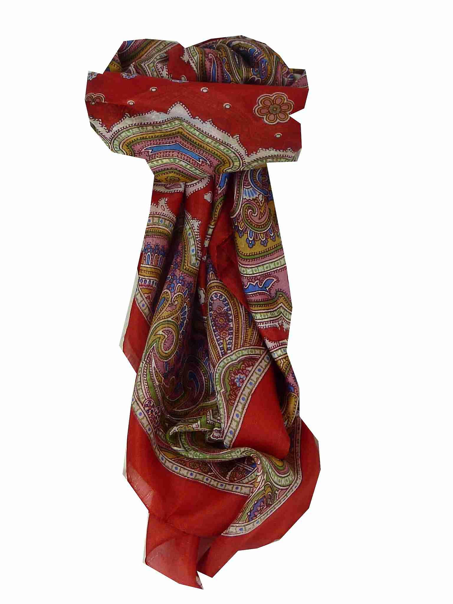 Mulberry Silk Traditional Square Scarf Jaya Red by Pashmina & Silk